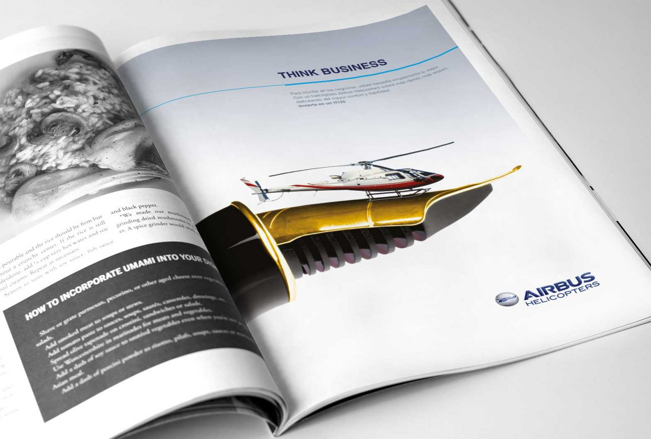 Printed advertisement for Airbus Helicopters in magazine