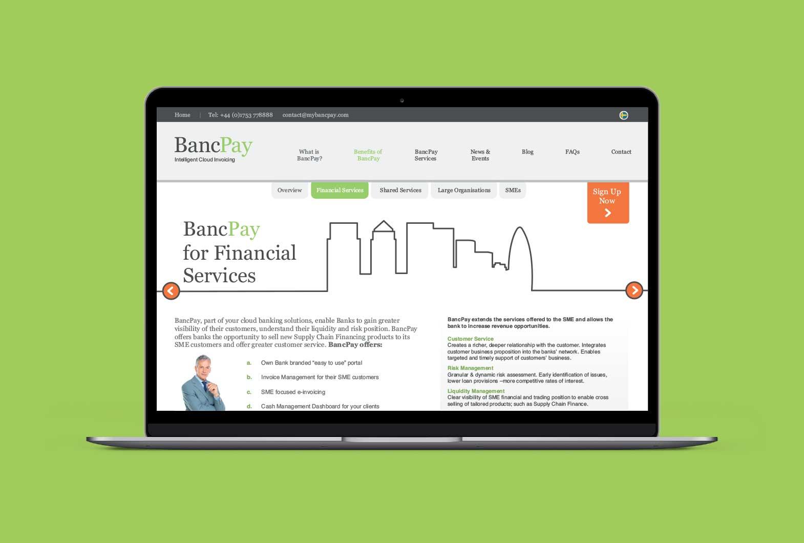 BancTec financial services website design