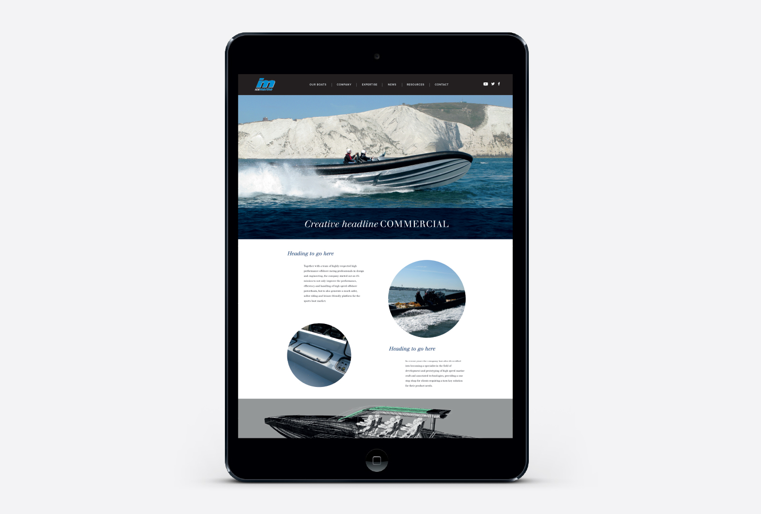 Ice Marine powerboat website design on mobile device