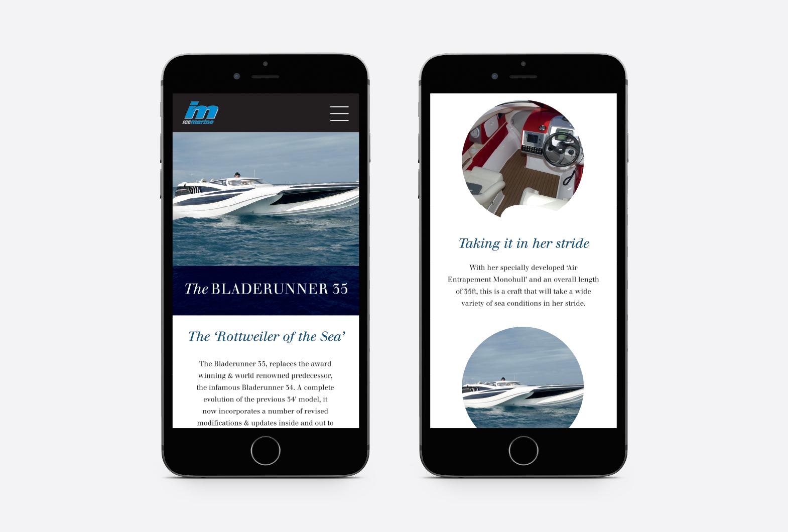 Ice Marine powerboat website design on mobile phone