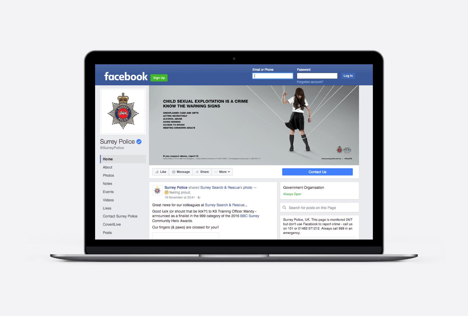 Surrey Police Facebook page