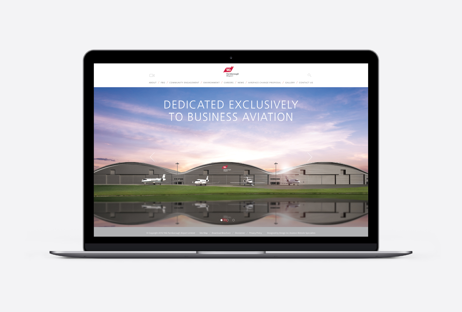 TAG Farnborough Airport website design