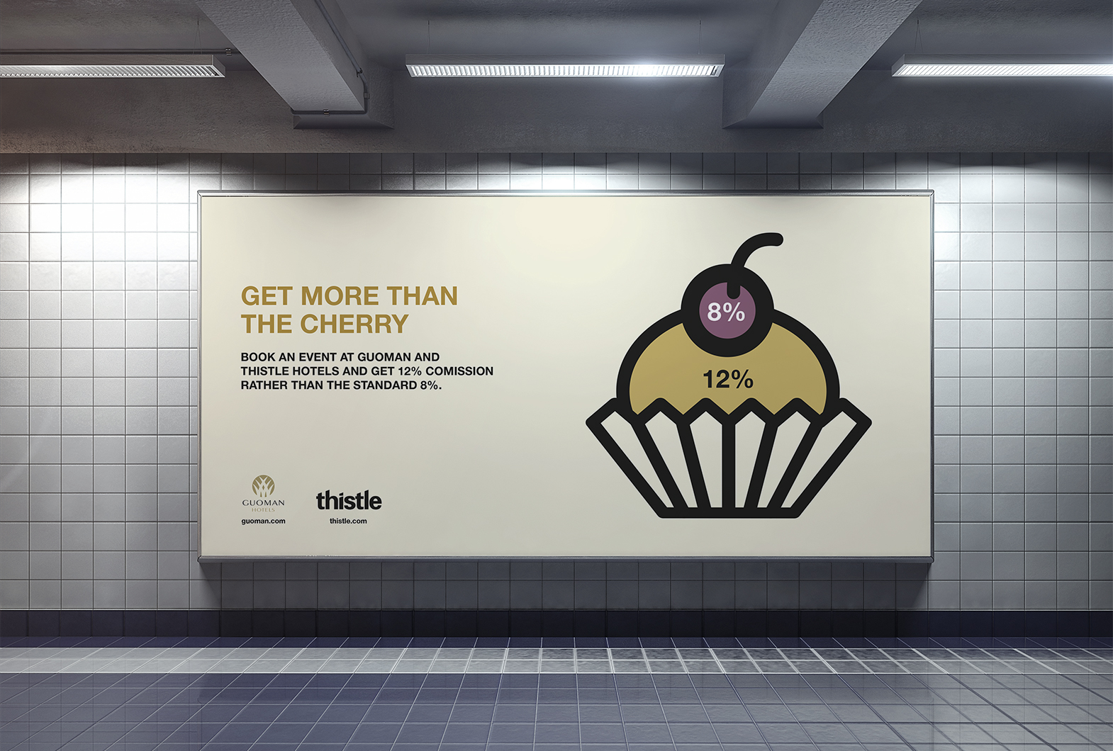 Thistle Guoman hotel OOH advertising cherry on cake
