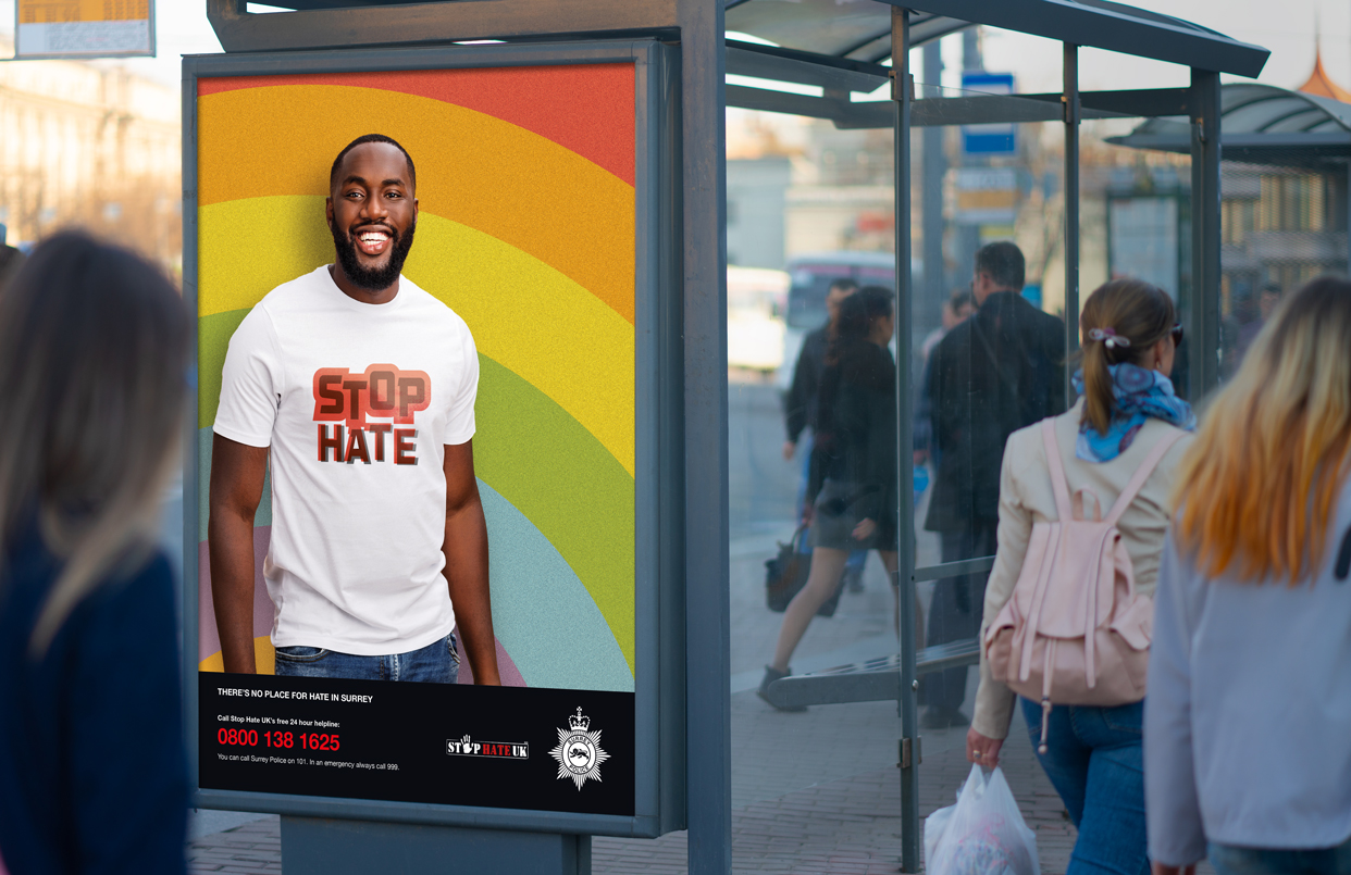 Stop Hate public information advert on bus shelter