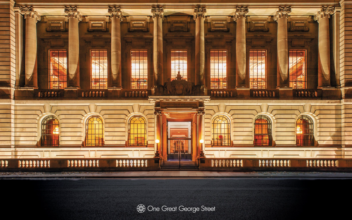 brochure cover design for London venue, One Great George Street